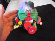 "8"" CLOWN DOLL STUFFED BODY WOODEN HEAD HANDS & FEET + FLOWERS GUNTHART CHOCOLATE"